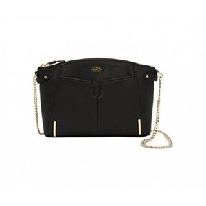 "Vince Camuto ""Asha"" Black Leather Gold Crossbody"